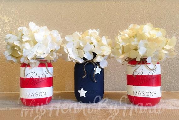 4. Juli Dekor patriotische Mason Gläser Flagge Mason Gläser