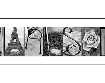 Alphabet photo letter art - Custom WEDDING GIFT by Kona B. Designs  - Black and White Print- 10x20 Unframed