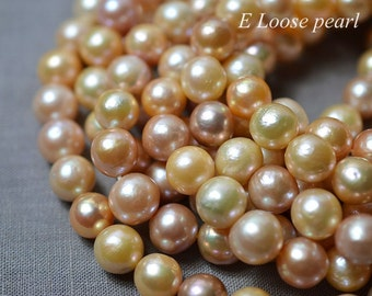 80% DIY Round Edison Pearl multicolor Necklace pearl Large Hole Freshwater Pearl Loose Beads 10.5-11.5mm 35pcs Full strand Item No : PL4272