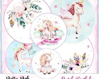 BIRTHDAY digital collage sheet - 3 inch set of 6 digital printables stamps, cardmaking & papercraft / URODZINOWE digi stemple do druku