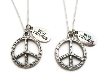 Peace Sign Necklace Set Best Friends Necklaces  Peace Necklace Peace Sign Jewelry Peace Jewelry Choose Your Chain Necklace Peace Gift