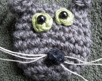 Sooty the Cat Crocheted Brooch