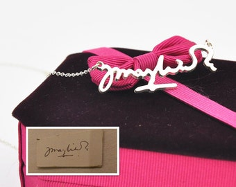 Sterling Silver Signature Necklace, Personalized Name Necklace, Hand Cut Out Nameplate Charm, Your Design Memorial Jewelry, Bridesmaid Gift