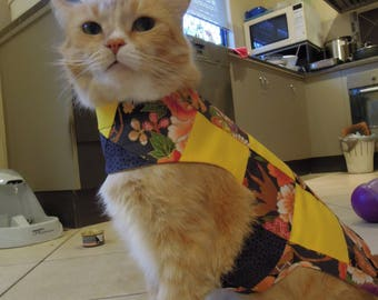 Pet clothing for cats and small dogs: Grey and yellow cotton quilted dress (Japanese floral)