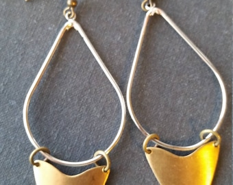 Banner Earrings - Silver Tear Drop Hoop - Brass Banner Pendants - Modern Vintage - Mixed Metal - Modern Shape - Dangle Earrings - Brass Bird