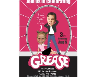 Greese Birthday Invitation, Childs Photo Grease Birthday Invitation, Custom Invitation, Twin's Birthday Invitation, Gease Party, 50's Party