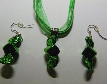 Dangle Green Candy Earrings & Necklace Set  #94