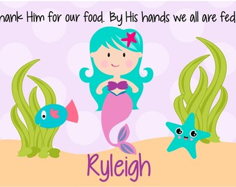Personalized Placemat - Kids Placemat - Personalized Godchild Gift - Childs Placemat - Laminated Placemat - Baptism Gift - Mermaid Placemat