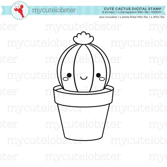 Cute Cactus Digital Stamp Clipart Outline Clip Art Cactus