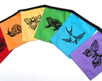Garden Creatures Rainbow Flags - Hand Printed - Party Flags - Garden Flags - Prayer Flags - Gift for Child - Block Print - Frog - Bee - Bird