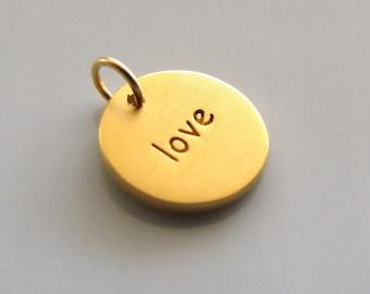 24K Gold Vermeil Round LOVE Word Charm