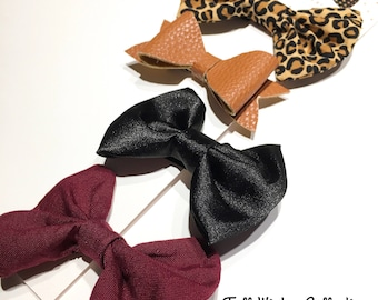 Fall Winter Collection Kit- Leopard Print, Faux Leather Bow, Black Satin and Burgundy Bow