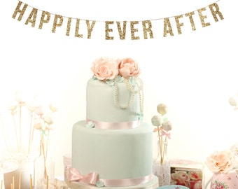 HAPPILY EVER AFTER Wedding Sign. Thank You Cards. Wedding Reception. Wedding Brunch Decor. Sweetheart Tableampange