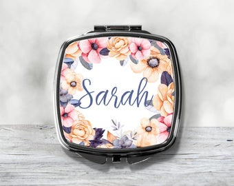 Custom Bridesmaid Gift - Personalized Compact Mirror - Floral Purse Mirror
