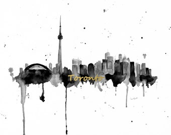 Toronto Skyline Canvas  - Toronto Skyline Painting - Toronto Ontario Canada - Cityscape Art Print - Toronto Skykine Wall Art