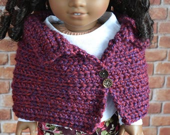 18 inch Doll Clothes - Crocheted Capelet Poncho - MADE TO ORDER - Merlot Burgundy Maroon Garnet - fits American Girl