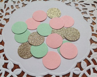 Circle confetti,party confetti,confetti,Wedding confetti,table confetti,table scatter, mint pink and gold confetti, party decor