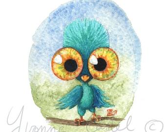 Aquarelle d'un petit oiseau aux yeux énormes - cute monster 5