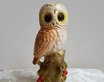 Vintage Owl Statue Ceramic by Norleans Japan, Rustic Cabin Woodlands Decor