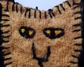 Brian the  Cat face embroidered brooch