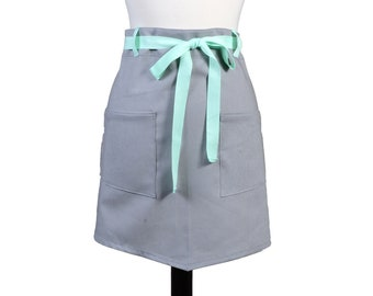 Womens Linen Retro Half Apron in Gray Straight Style Skirt with Light Mint Green Belt Loops and Ties and Two Pockets