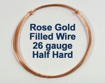 Rose Gold Filled Wire - 26ga HH Half Hard - Choose Your Length