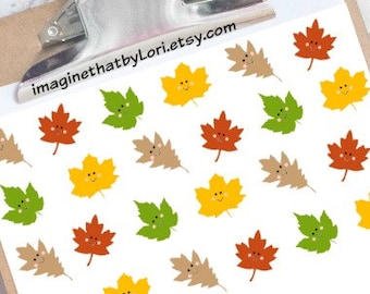 Happy leaves planner stickers for your Erin Condren planner