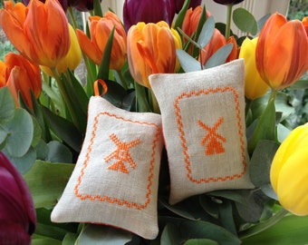 Dutch Windmill  Lavender Sachet Amsterdam Cross-Stitch Holland Netherlands Souvenir Orange Polkadot Fabric