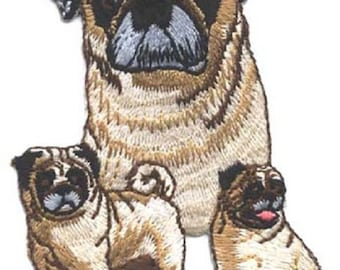 Embroidered PUG Dog Breed Iron-on/Sew on Patch Badge Applique DIY....choose fawn or black pug