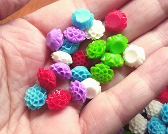 10mm Dahlia Cabochons Small Resin Flatback Flower Decoden Colorful