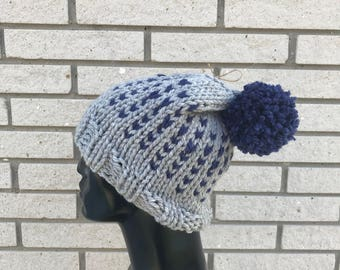 Handknit Beanie | Slouchy Hat with Pom Pom  | Winter Hat | Winter Accessory | Gift Ideas | Holiday Gift