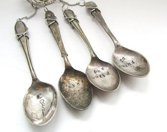 Coffee Makes The World Go Round, Spoon Wind Chime, Upcycled Cutlery, Handstamped  Windchime, Small Kitchen Mobile, Hand Stamped Teaspoons