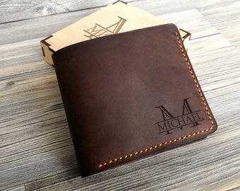 Personalized Leather Wallet Personalized Mens Wallet Leather Gift for Him Groomsmen Gift Mens Wallet Personalized Gift for Men Gift for Dad