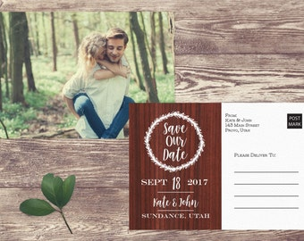 Rustic Save The Date Postcard, Rustic Postcard Save the Date, Photograph Save the Date, Custom Personalized, Engagement Announcement Card