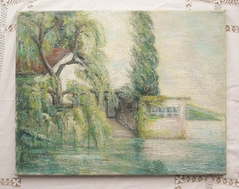 Original oil painting Vintage oil painting Boat house painting Water landscape oil painting Oil painting on canvas House on the river oil