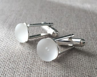 White Vintage English Sea Glass Sterling Silver Cuff Links. Gift For Him. Wedding Cufflinks