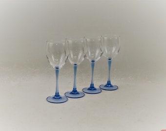 Vintage Luminarc Azure Blue Stem Wine Glasses Set of 4