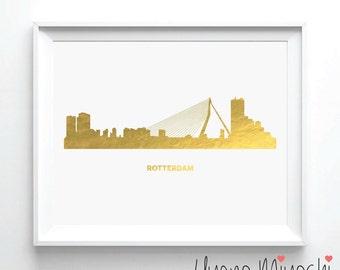 Rotterdam Skyline Gold Foil Print, Gold Print, Map Custom Print in Gold, Art Print, Rotterdam Skyline The Netherlands Gold Foil Art Print