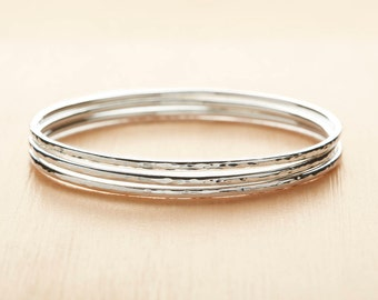 Sterling Silver Bangle - Stacking Bangle - Skinny Hammered Bangle - Minimal Jewellery - Silver Bracelet