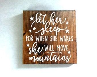 Let her sleep wood sign, nursery sign, girls room sign, baby gift, baby shower gift, baby girl room, rustic nursery