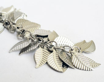 Silver leaves - destash - 200 leaves - silver leaf charm - silver findings - metal leaves - 14mm leaf - small supplies - silver leaves
