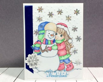 Cute Unique Holiday Card, Cute Holiday Card, Unique Holiday Card, Cute Christmas Card, Unique Christmas Card, Winter Card, Cute Snowman Card