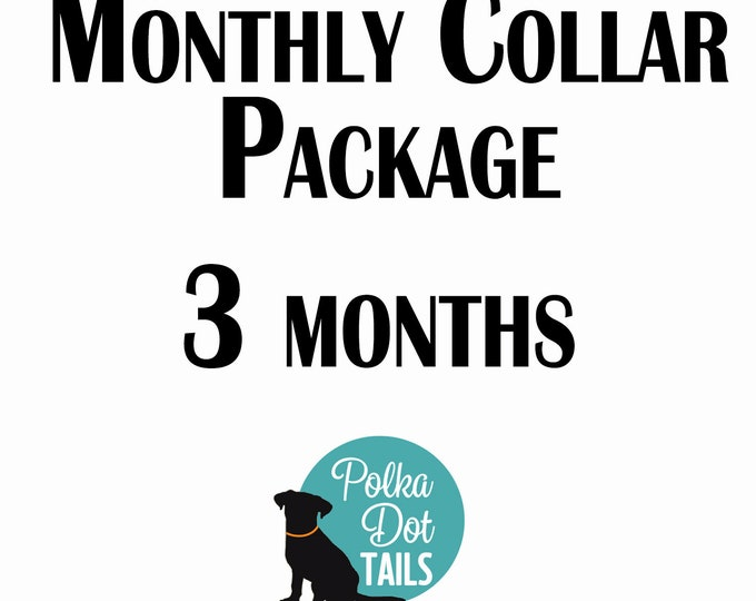 Featured listing image: 3 Month Collar Package, Puppy Package, Dog Gift, Gift for Pet Lover, Seasonal Collar, Handmade, Monthly Collar Subscription, Christmas,