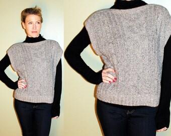 SALE 80s Vintage Preppy Grey Cable Knit Sweater Vest