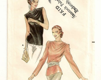 "A Back Button, Sleeveless or Long Sleeve, Cowl Draped nNeckline Blouse Pattern for Women: Uncut - Size 18, Bust 40"" • Butterick 6910"