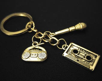MIX CASSETTE TAPE Mic Radio Music Silver Metal Charm Keychain Key Ring Unique Gift