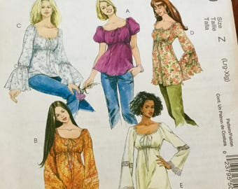 McCall's 5050 Tops and Tunics, Size Large-Extra Large, Raglan Sleeves, Uncut