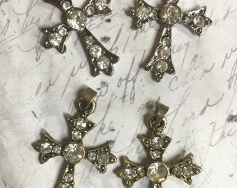 4 pieces Antique Brass or Black Cross Pendant Rhinestone Assemblage Findings Jewelry Charm Bohemian