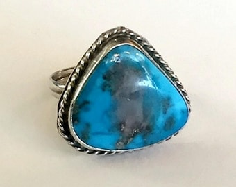 Vintage Turquoise with Quartz Inclusion Sterling Silver Handmade Navajo Native American Size 5 Ring