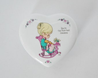 Precious Moments Porcelain Heart Shaped Box Grandmother Gift